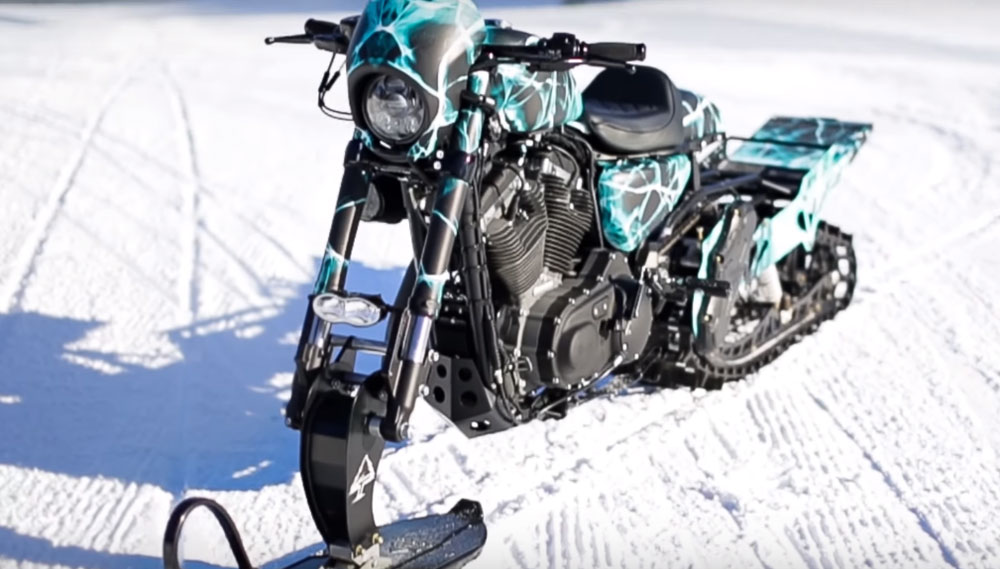 This Harley Davidson Snowbike Conversion Is Over The Top