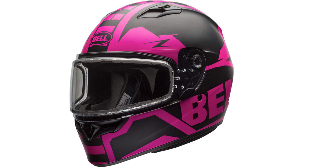 Bell Qualifier Matte Pink/Black Snowmobile Helmet with Dual Shield