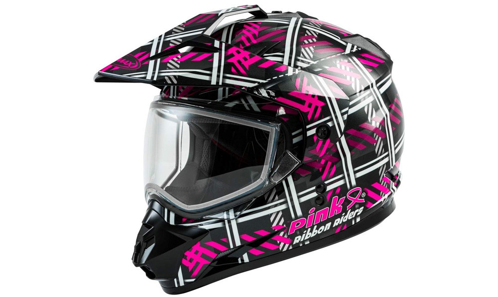 GMAX GM-11 Pink Ribbon Riders Snowmobile Helmet