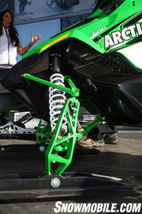 The front suspension 2009 Sno Pro 600 carries the new ski spindle.
