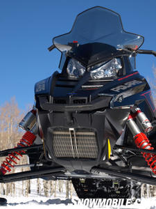 Close up front view gives a peek at new front 'radiator' and Walker-Evans piggyback 'clicker' shocks.
