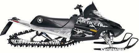Arctic Cat's mountain skidframe dropped springs to reduce weight.