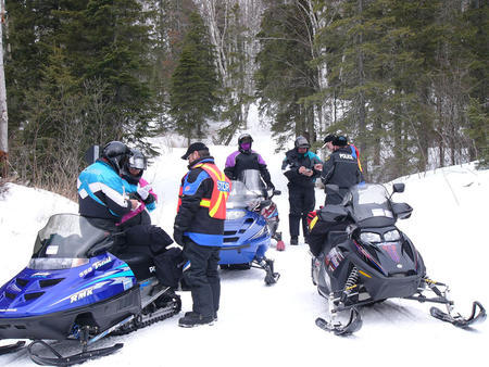 Enforcement personnel regularly patrol Ontario's snowmobile trails for safe snowmobiling.