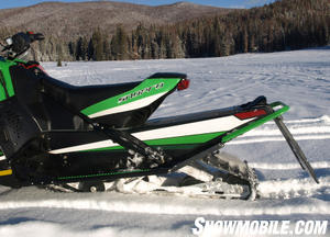Not a long sled, Arctic Cat's Sno Pro 500 track stretches past the race-styled seat.