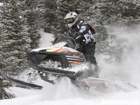 A powerhouse in the mountains, Arctic Cat's M1000 has the highest available horsepower of any mountain sled on the market.