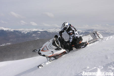 The M1000 is is a pleasure to ride in the steep and deep backcountry with a chassis that makes it easy to sidehill.