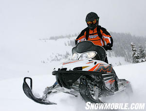 Arctic Cat's M1000 is a great boondocking, sidehilling or hilclimbing, deep snow machine.