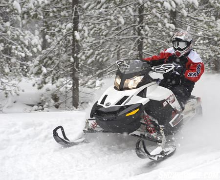 A good all-around track option, the RipSaw track with one-inch lug height is standard fare on many stock models like this 2010 Ski-Doo TNT.