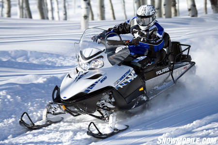 The 600 Widetrak IQ features the same Cleanfire 600cc 2-stroke twin used in Polaris' sports sleds.