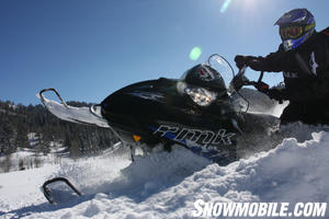 Western Editor Matt Allred shows off the great side hilling capabilities of the Polaris 700 RMK.