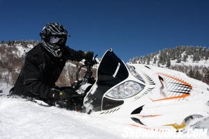 Bret Rasmussen, a backcountry riding expert, cuts it loose on the Arctic Cat M8.