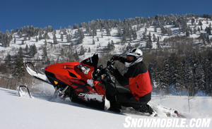 The Polaris Dragon 800 is the flagship of the Mountain segment. It comes stock with Pro-taper bars, and Walker Evans shocks.  It has ice scratchers instead of boogie wheels to cut down on weight.