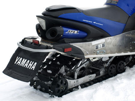 Yamaha's MonoShock II suspension fits a 128-inch RipSaw track with 1.25 lug profile.