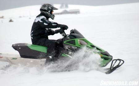 Test rider Doug Erickson rides the bumps with the new Z1 Sno Pro.