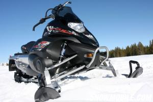 The Yamaha Nytro Comes with great powder skis, and lightweight Fox Float shocks.