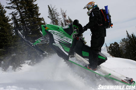 """With a stiffer track than the M8, the HCR """"hooks up"""" better in the snow, leading many to believe that the HCR has more horsepower than the M8."""