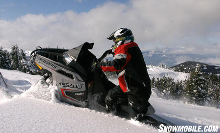 The stiff durometer competition track is ideal for hillclimb and hard pack snow conditions, but is probably not the best in the light fluffy stuff.