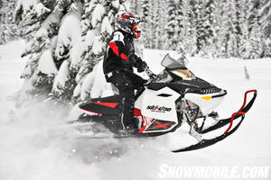 This Ski-Doo's PowderMax track with 1.75-inch lugs grips powder for impressive back country performance.