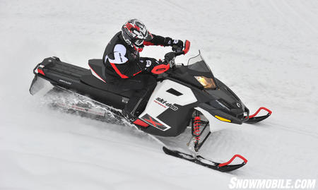 The narrow lines on the 1200 Renegade X give the snowmobile a narrow feel, though a torque-filled triple four-stroke is cradled between the skis.