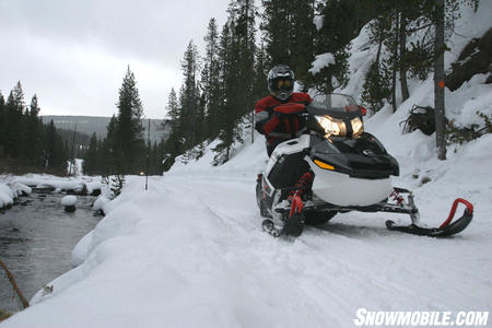 If four stroke performance, electric start, aggressive styling and stretched long travel suspension are your needs, then the Ski-Doo Renegade X is your sled. The snowmobile is smart on the trail and delivers a smooth and controlled ride.