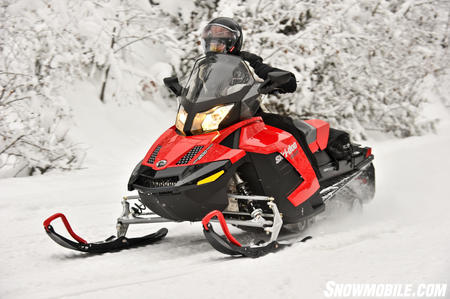 The GSX SE's double A-arm front-end offers 9-inches of travel and grips like an MXZ.