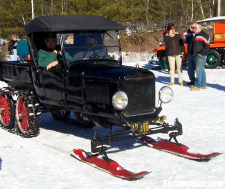 "When Eliason built his 1924 prototype, Henry Ford already had manufactured 10 million Model T cars, including some used as ""snowmobiles."" Bassett Image."
