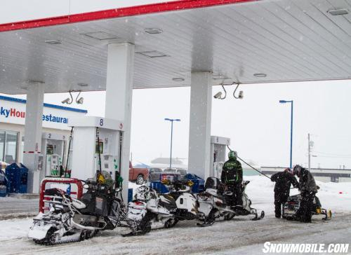 Gassing Up Snowmobiles In Northern Ontario
