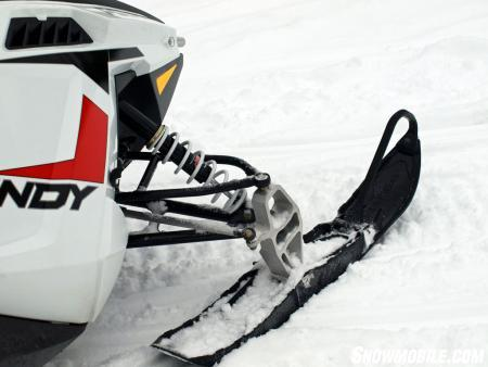 Polaris' Pro-Steer plasticized skis are very rider-friendly and work well with the RydeFX shock controlled A-arm front suspension.