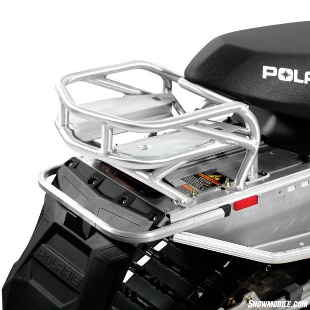 Polaris offers a series of add-ons for its Indy series, including a custom-fitted aluminum rear rack.