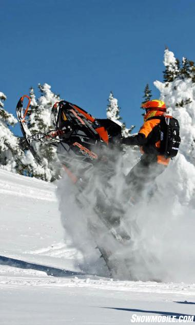 "With its carbon fiber components and rigid chassis design, Polaris' Pro-RMK models offer a ""flick-ability"" in deep snow running that no other sleds possess."
