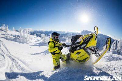 """Big boy """"onesies"""" like the Ski-Doo REVY for deep snow riders feature slim styling with water-resistant zippers and storm gaiters to keep out snow."""