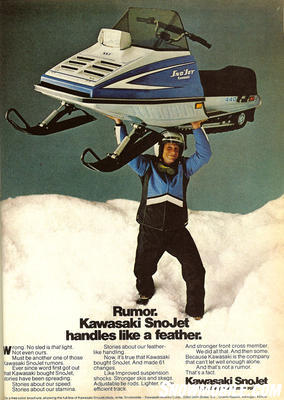 When Kawasaki took over the SnoJet brand, 'Big Blue' was gone and more than 60 changes were made during the transitional year. Of course, one expected change came under the hood as Kawasaki would replace Yamaha engines with its own Kawasaki powerplants.