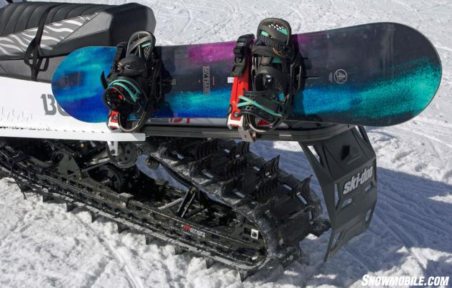 Ski Doo Added A Snowboard Rack To The Linq System That Attaches Rear Tunnel And Can Accommodate One Or Two Skis Poles