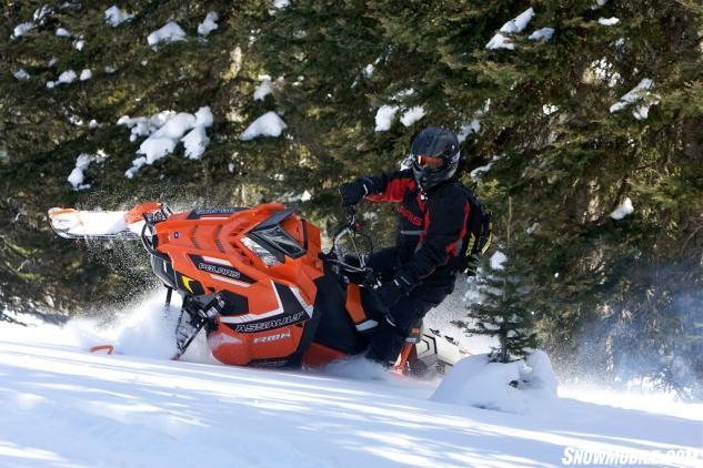 Polaris' Lyle Dahlgren demonstrates that all of his essential gear can fit into his airbag and still be light enough to let him rip in the backcountry.