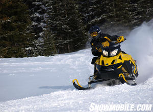 Ski-Doo's lightweight MXZ series stands out with either the 600cc E-TEC or new 1200 4TEC power.