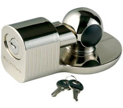 We've fitted Master Lock's chrome 377DAT Universal Trailer Coupler Lock when we store our trailers.