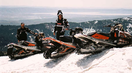The mountains Northeast of Preston, Idaho, provided ample snow for three die hard sledders not quite ready to give up winter snowmobiling for dirt bike riding. Summer in Idaho is three months of bad snowmobiling.