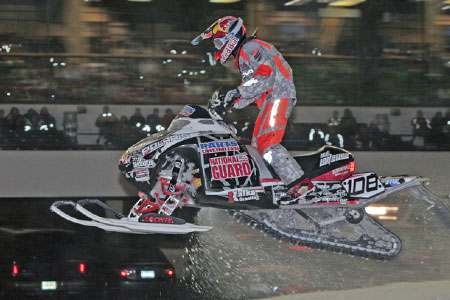In the Pro Open final, Lavallee launches his sled over one of the front straight doubles.