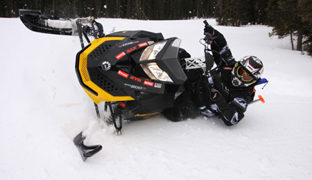 The Summit X-RS Hill Climb Edition is Ski-Doo's version of a mountain race sled. It has a wider front end at 42 inches and a taller more aggressive handle bar.