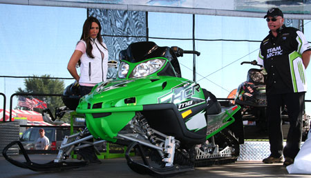Arctic Cat Product Manager Joel Hallstrom (right), introduced the all-new M8 HCR at Hay Days.