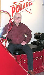 During an interview with the Antique Snowmobile Club of America (ASCOA), David Johnson sits on the second Polaris, the one he built with Allan Hetteen.