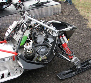 Modern sleds like this Polaris feature hydraulic brakes with lightweight brake rotors.