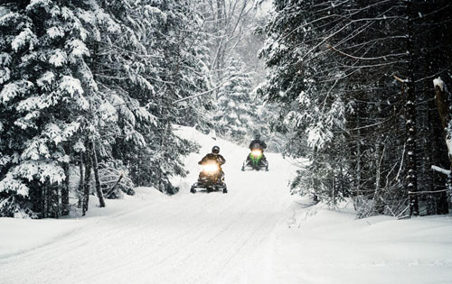 Freshly Groomed Snowmobile Trails