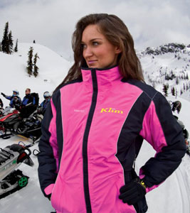 KLIM's Allure Jacket with windproof and water-resistant features is designed specifically for women snowmobilers. (Image courtesy of KLIM)