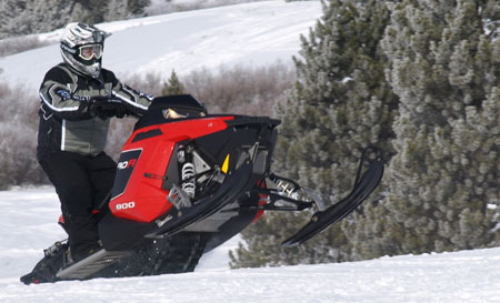 The toughness of the bonding process in a Polaris Rush means you can pound the sled hard over the toughest moguls.