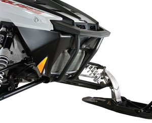 A brush guard adds protection for your sled when bushwhacking in the boonies.