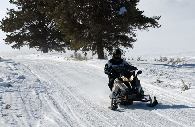 Polaris on Groomed Snowmobile Trail