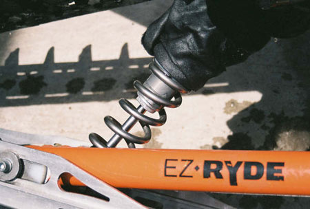 The EZ Ryde mountain skid receives the titanium springs making a superb rear suspension beyond A+. The EZ Ryde springs are progressive rate springs.