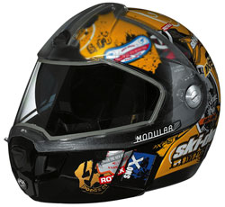 Ski-Doo Modular 2 Limited Edition polycarbonate composite snowmobile helmet features an optically-correct dual lens visor with an integrated sunshield for reduced glare. (Courtesy of Ski-Doo)