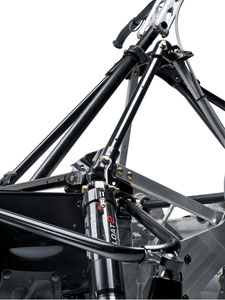 The shock was angled back to help send forces into the chassis instead of simply up into the shock mounts.